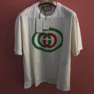 Gucci Men Chest Printed Logo Off White T-Shirt XXL